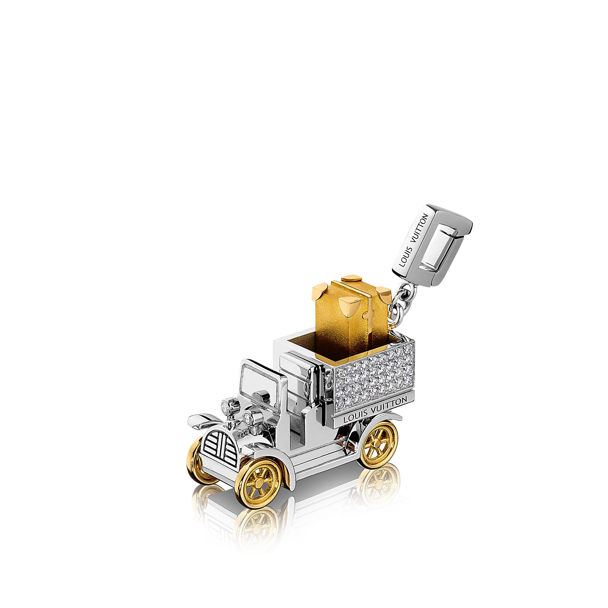 Louis Vuitton Q93313 Charm Automobile,oro bianco e giallo e diamanti